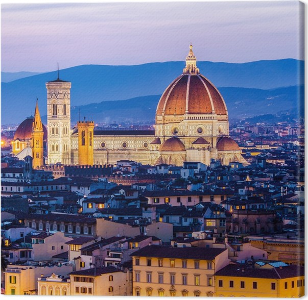 Cuadro en Lienzo Florencia por la noche, vista panorámica, Italia ...