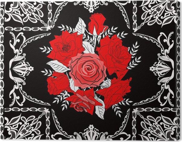 Cuadro en Lienzo Flores color de rosa en blanco marco decorado en ...