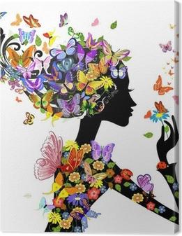 Cuadro en Lienzo Flores de la muchacha de la manera con mariposas