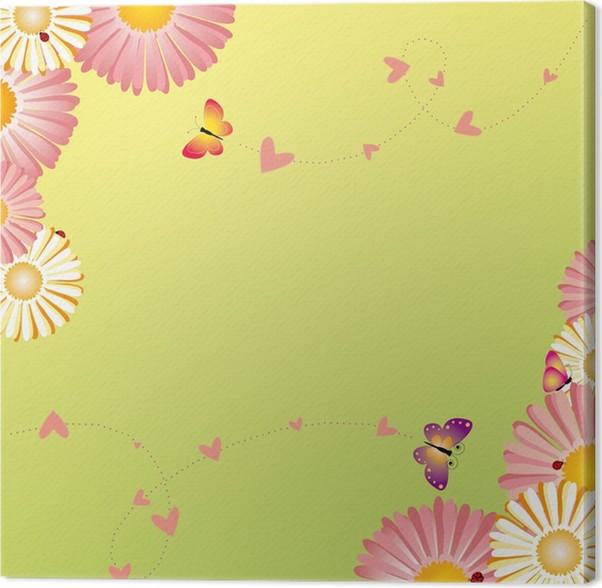 Cuadro en Lienzo Flores de primavera marco mariposas mariquitas ...