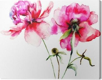 Cuadro en Lienzo Flores rojas peonía