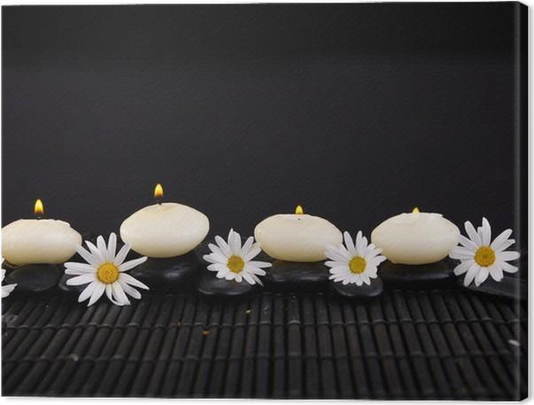 Cuadro en Lienzo Flores y velas, piedras zen en la estera • Pixers ...