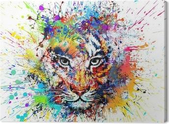 Cuadro en Lienzo Fondo brillante con el tigre