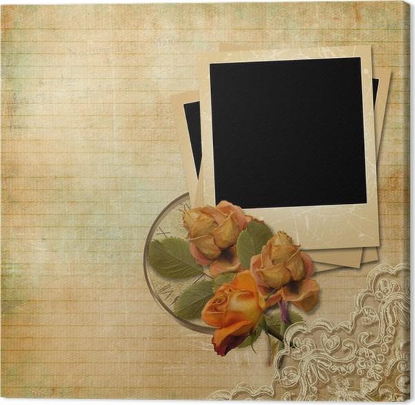 Cuadro en Lienzo Fondo de la vendimia con la polaroid del marco y ...