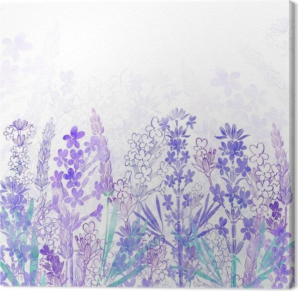 Cuadro en Lienzo Fondo floral con flores de lavanda y lugar para el ...