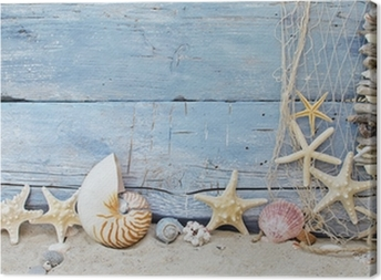 Cuadro en Lienzo Fondo marítima: por la playa, conchas y estrellas de mar
