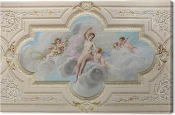 Cuadro en Lienzo Fresco en el techo con la figura de una mujer y angelitos