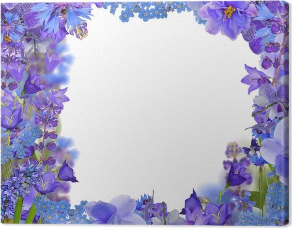Cuadro en Lienzo Fronm marco de las flores azules en blanco • Pixers ...