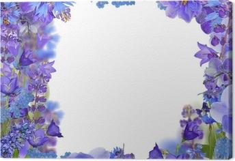 Cuadro en Lienzo Fronm marco de las flores azules en blanco