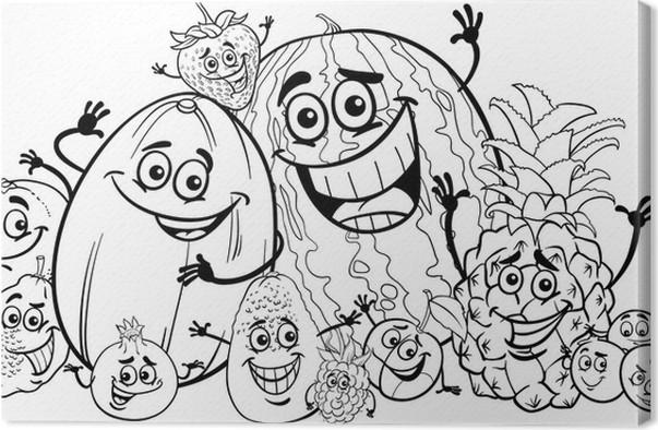 Cuadro en Lienzo Frutas divertidos dibujos animados de libro para ...
