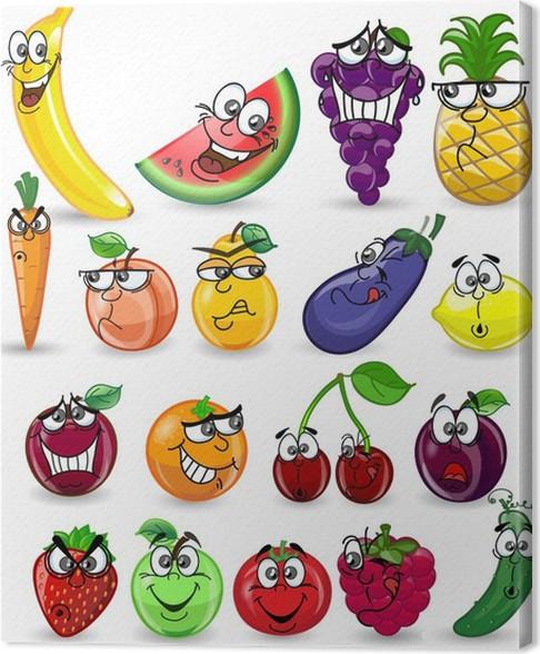 cuadro en lienzo frutas y verduras de dibujos animados pixers