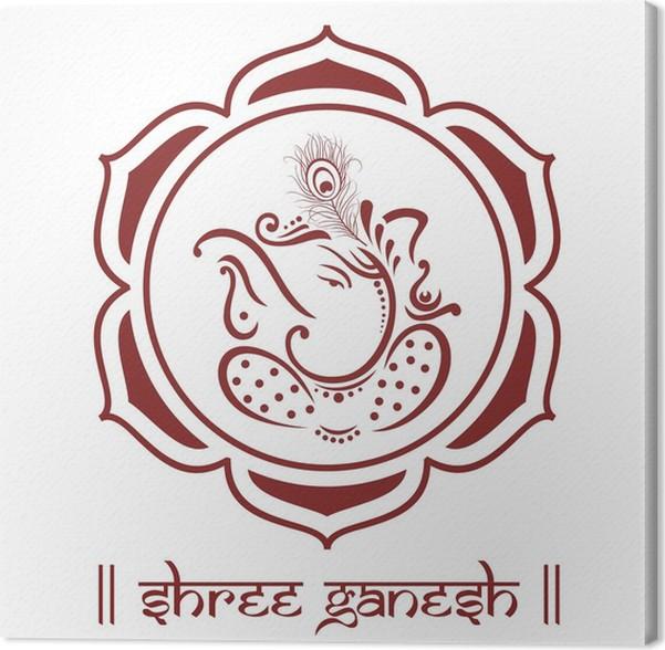 Cuadro en Lienzo Ganesha, flor de loto, el hinduismo, India • Pixers ...