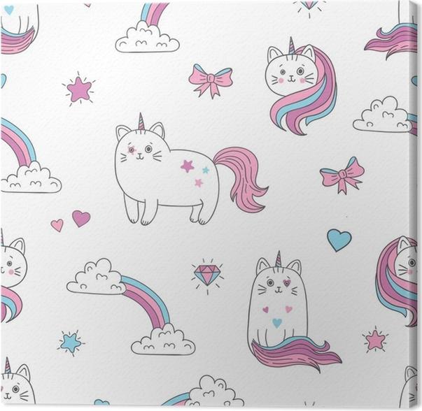 Cuadro en Lienzo Gatos lindos unicornios de patrones sin fisuras ...