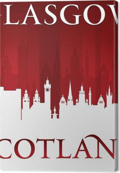 Cuadro en Lienzo Glasgow Escocia horizonte de la ciudad silueta ...