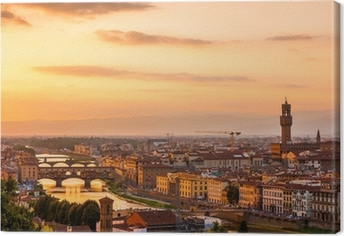 Cuadro en Lienzo Golden puesta de sol sobre el río Arno, Florencia, Italia