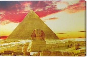 Cuadro en Lienzo Gran Pirámide de Keops Faraón, ubicado en Giza y la Esfinge.