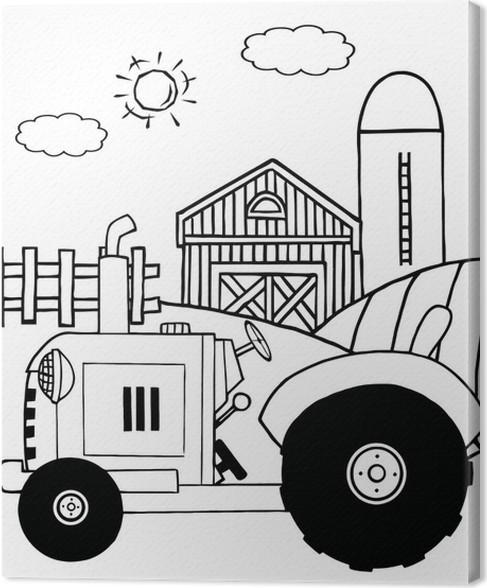 Cuadro en Lienzo Granja Outlined Tractor en un potrero cerca de un ...