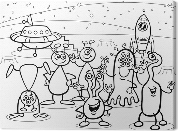 Cuadro en Lienzo Grupo de aliens ufo libro para colorear dibujos ...
