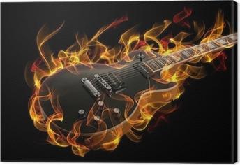 Cuadro en Lienzo Guitarra eléctrica en fuego y llamas