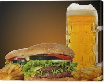 Cuadro en Lienzo Hamburguesas y cerveza.