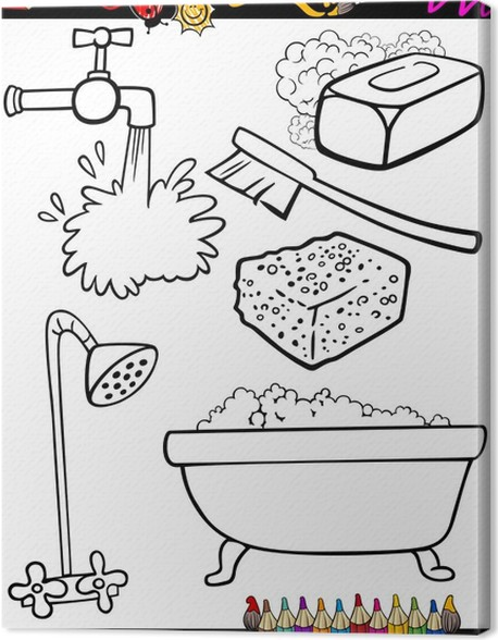 Cuadro en Lienzo Higiene de dibujos animados para colorear objetos ...