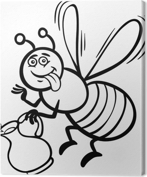 Cuadro en Lienzo Historieta de la abeja de la miel para colorear ...