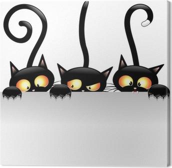 Cuadro en Lienzo Historieta divertida de los gatos con Panel-Gatti Buffi con Pannello