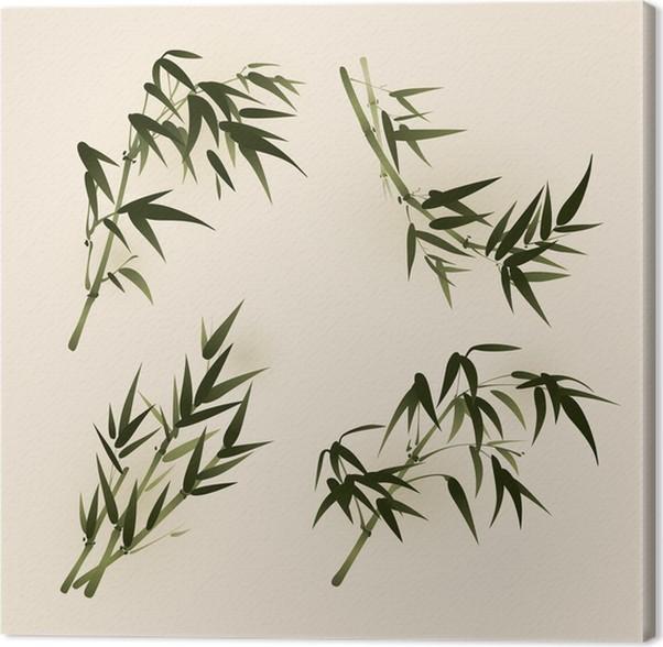 Cuadro en Lienzo Hojas de bambú, estilo oriental vectorizado la ...