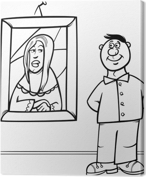 Cuadro en Lienzo Hombre en una galería de arte para colorear ...