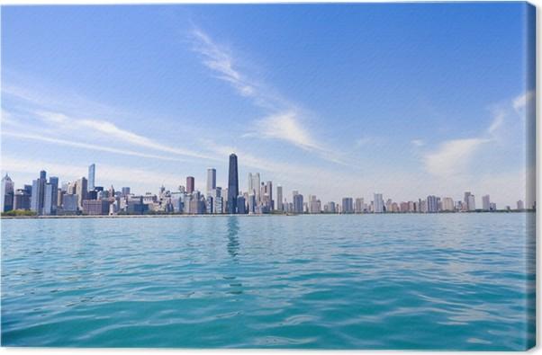 Cuadro en Lienzo Horizonte de Chicago con el cielo claro azul ...