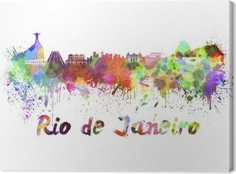 Cuadro en Lienzo Horizonte de Río de Janeiro en acuarela