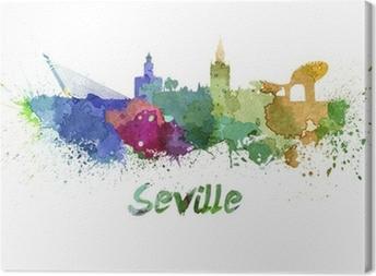Cuadro en Lienzo Horizonte de Sevilla en acuarela