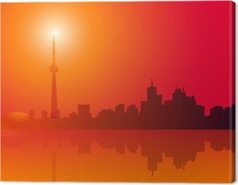 Cuadro en Lienzo Horizonte de Toronto en la ilustración de la mañana-vector