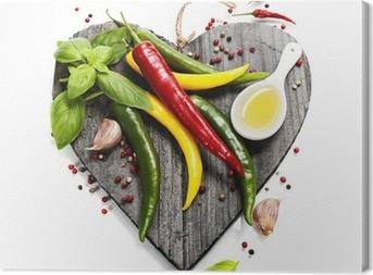 Cuadro en Lienzo Hortalizas frescas en la tabla de cortar con forma de corazón