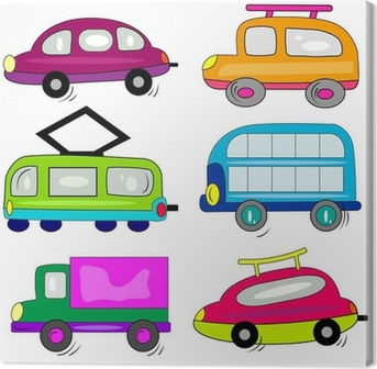 Cuadro En Lienzo Iconos Autos Del Coche De Dibujos Animados Conjunto