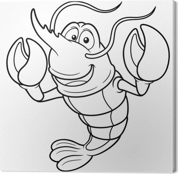 Cuadro en Lienzo Ilustración de camarón de dibujos animados - Libro ...
