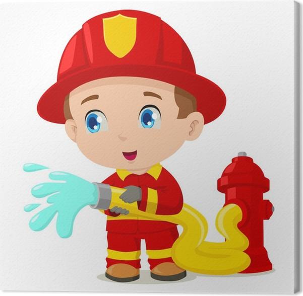 Cuadro en Lienzo Ilustración de dibujos animados de un bombero ...