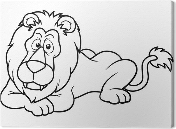 Cuadro en Lienzo Ilustración del león de dibujos animados - Libro ...