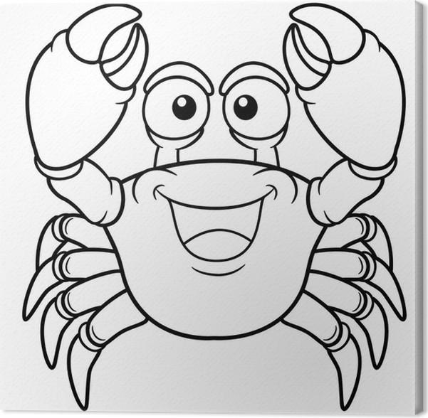 Cuadro en Lienzo Ilustración del vector del cangrejo de dibujos ...