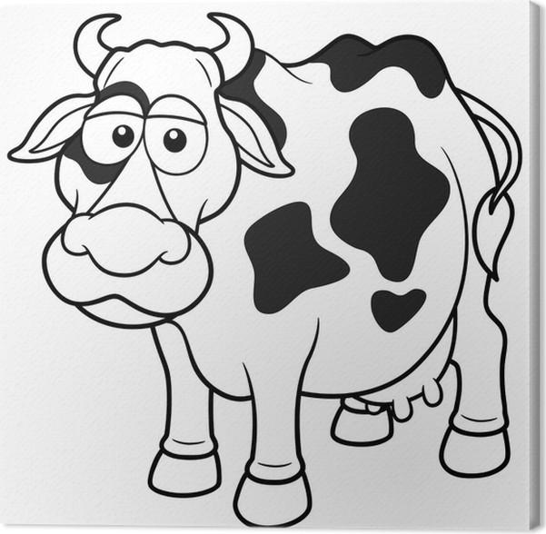 Cuadro en Lienzo Ilustración vectorial de la historieta de la vaca ...