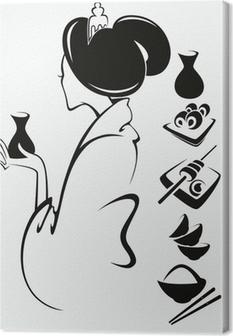 Cuadro en Lienzo Imagen vectorial de chica japonesa con comida tradicional