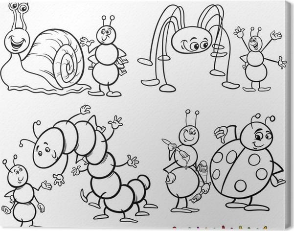Cuadro en Lienzo Insectos divertidos fijados para libro para ...