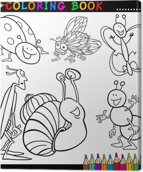 Cuadro en Lienzo Insectos y bichos de libro para colorear o página ...