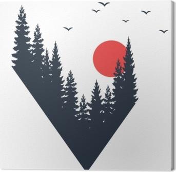 Cuadro en Lienzo Insignia de viaje dibujado mano con abetos con textura ilustración vectorial.