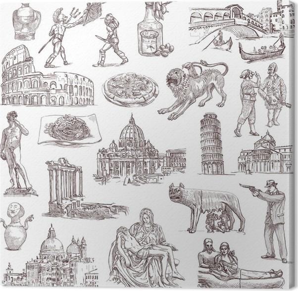 Cuadro en Lienzo Italia - ilustraciones dibujadas a mano de tamaño ...