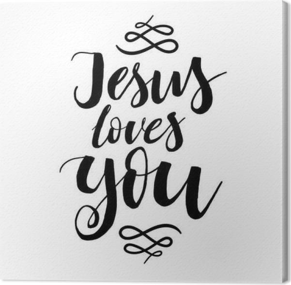 Cuadro en Lienzo Jesús le ama - Vector inspirada cotización ...