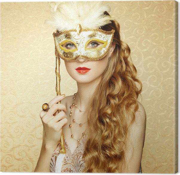 Cuadro en Lienzo Joven y bella mujer misteriosa máscara veneciana de ...