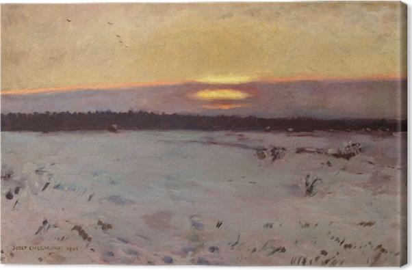 Cuadro en Lienzo Józef Chełmoński - Puesta de sol en invierno - Reproductions