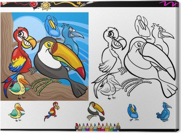 Cuadro en Lienzo Juego de páginas para colorear aves exóticas ...