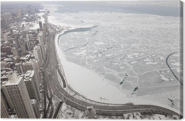 Cuadro en Lienzo La ciudad de Chicago del lago Michigan costa en ...